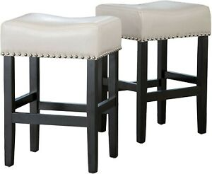 2Pcs Christopher Knight Home Lisette Backless Leather Counter Stools Ivory
