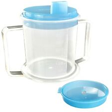 Drinking Cup/Beaker/Mug for Disabled Adults with Easy Grip Handles Anti Splash S