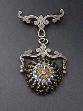Ancienne originale broche en metal argenté emaillé montre dalia 1900