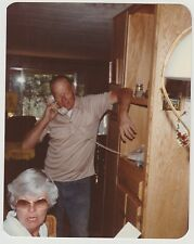 Vintage 70s PHOTO Mature Couple w/ Man Talking On Old Telephone Phone