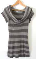 CROSSROADS GREY STRIPED KNITTED LONG-LINE TOP WITH COWL NECK.