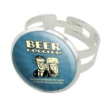 Beer Goggles Lights Bar Always Come On Silver Plated Adjustable Novelty Ring