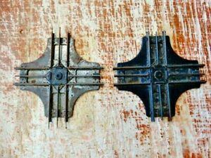 "2 Vintage Louis Marx O27 Gauge 8"" Train Railroad Crossing Cross All Metal"