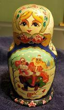 Vintage Russian Nesting Dolls Wood Winter Scene Signed Set of 10 Large