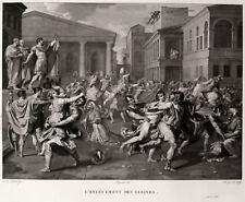IL RATTO DELLE SABINE - Poussin The Rape of the Sabine -Incisione Originale 1800
