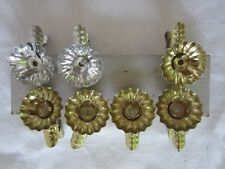7 Vintage German Pinecone Silver Gold Clip On Candle Holder Christmas