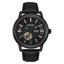 Bulova Men's 98A139 Automatic Open Heart Window Black Leather Strap 45mm Watch