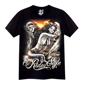 T-Shirt Skull & Girl Tattoo Chicano Style Motorcycle Glow in the Dark Rock Eagle