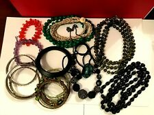 Collection of various bead necklace, bracelet and bangles job lot