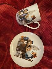 """Norman Rockwell - Cup And Saucer - """"For A Good Boy�"""
