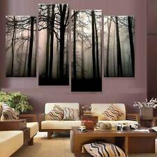 "Abstract Modern Paint Art Oil Painting Canvas Wall Decor Forest 55*32"" 4 panel"