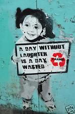 "Banksy girl karma quote poster print for glass frame 36"" x24"""