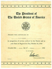 Oct 16 1940 Pres Roosevelt Award to US Draft Official for State Registration Day