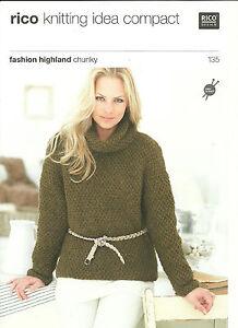 Ladies Rico chunky sweaters Knitting Pattern 135