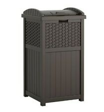 Outdoor Trash Hideaway Resin Wicker Patio Garden Garbage Waste Bin Can House New