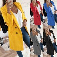Women's Fashion Slim Long Blazer Coats Work Jackets Button Cardigan Outwear Size