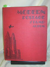 Vintage 1933 Modern Postage Stamp Album 1000+ Stamps Period Collection