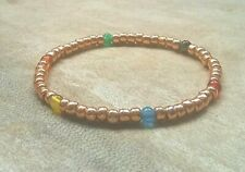 Simple Rose Gold Multi Colour Agate Beaded Bracelet Stretch Stacking Surfer