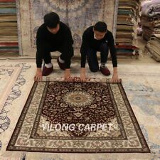 Yilong 4'x6' Red Medallion Silk Hand Knotted Carpet Handmade Rugs 683B