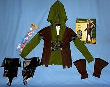 Robin Hood Costume;kids 8-10;Hoodie/vest;bow-arrow;School-Medieval;Renaissance