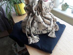 Reiss large snakeskin embossed leather bucket bag, STUNNING