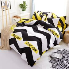 New Brief Style Print Bedding Set Duvet Cover+Sheet+Pillow Case Thick Four-Piece