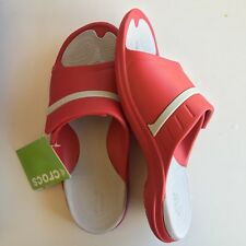 NEW CROCS Unisex m9 w11 Red Pearl White Modi Sport Slides Slippers Relaxed Fit