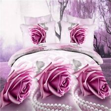 3D Floral King Size Duvet Cover Sheet Pillowcase Romantic Red Rose Bedding Set
