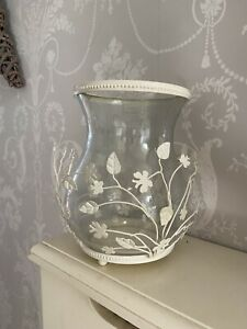 LAURA ASHLEY Cream Floral Glass Hurricane Candle Holder Shabby Chic