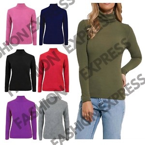 Ladies Turtle Neck Women Casual High Polo Neck Long Sleeve Ribbed Jumper Top