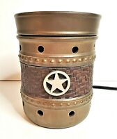 Scentsy Cowboy Country Western Lone Star Brown Full Size Warmer with Bulb