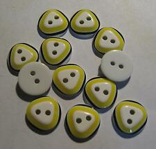12 x Triangle Design Yellow, Black & White 2 hole Round buttons 12mm wide (SB5B)