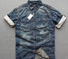 Men's camouflage denim shirt S-M, camo, urban, blue, summer, casual