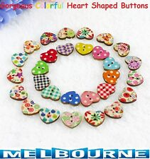 10x Colorful Heart Shaped 2 Holes Wood Sewing Scrapbooking Crafts Knopf Buttons