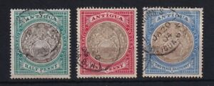ANTIGUA 1903-07 Crown CC Group SG 31/32/34 (2½d has crease top right) USED