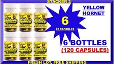 Stacker 2 Yellow Hornet Energy 20ct EphedraFree (Lot of 6 X Bottle) 120 Capsules