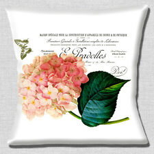 French Shabby Chic Cushion Cover 16x16 inch 40cm Pink Hydrangea Butterfly Letter