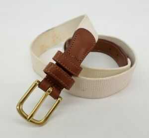 Coach Natural Linen Leather Belt 32 Surcingle 3815 White Brown