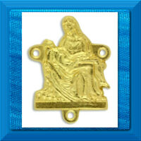 """Rosary Center XL PIETA 1 1/4"""" Use W/ Stations of the Cross chaplet GOLD PLATED"""