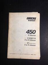 Tracteur - Fiat 450 - Supplément - Trattori - Notice - Manuel d'entretien - B17