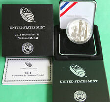 2011 W US Mint September 11th Silver National Proof Medal Box and COA 9-11 Mem