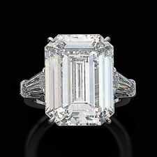 925 Sterling Silver Cocktail Party 12.37cttw Emerald Cut Diamond Engagement Ring