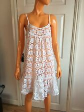 Milly Cabana White Floral Lace Sheer Summer Beach Cover Up Dress Size M