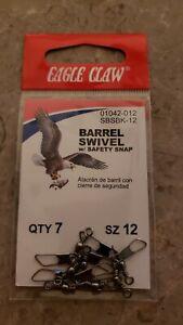 EAGLE CLAW BARREL SWIVEL w/ safety SNAP SZ 12 - 7 pack
