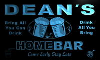 p170-b Dean's Personalized Home Bar Beer Family Name Neon Light Sign