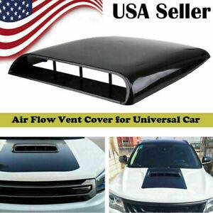 Black Air Flow Intake Hood Decorative Scoop Vent Bonnet Cover For Universal Car