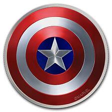 """2016 Fiji 2 oz Proof Silver Domed """"Captain America"""" Shield"""