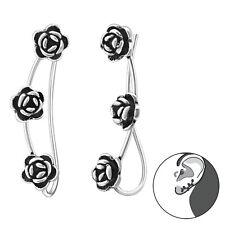 Sterling Silver 925 Rose Flower Link Pierced Ear Cuff Earrings
