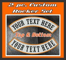 "Custom Embroidered  MC Rocker Patches 2 pc Set 13"" Top And Bottom Biker Club Cut"