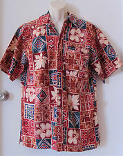 Mens Tabo Soro Fiji Islands Tropical Flower Hawaiian Button Front Shirt Sz XL